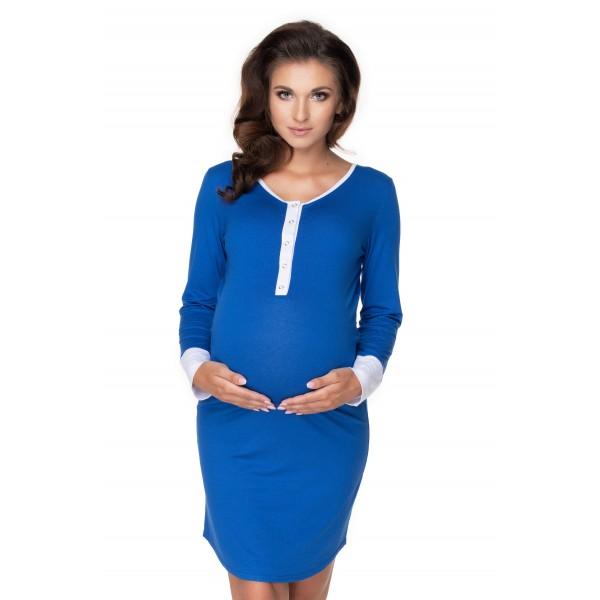 Kráľovskymodrá nočná košeľa na dojčenie s lemovkou PKB0160