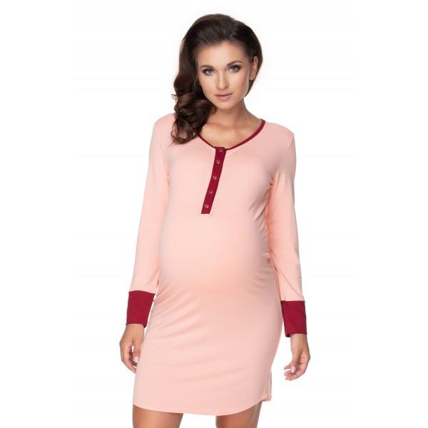 Ružová nočná košeľa na dojčenie s lemovkou PKB0160