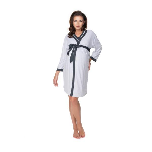 Súprava - šedý župan a nočná košeľa na dojčenie PKB0149