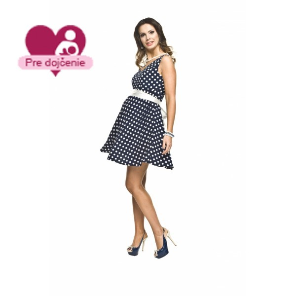 Elegantné bodkované tehotenské šaty RIPI Navy
