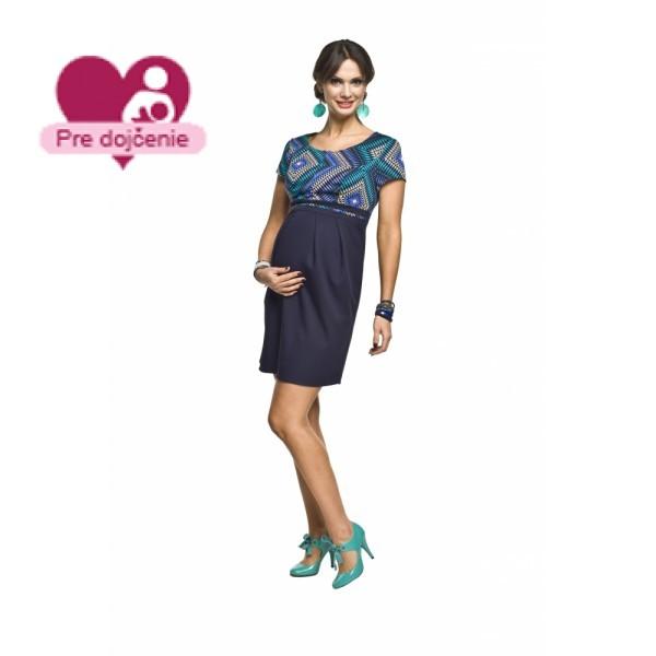 Elegantné púzdrové tehotenské šaty so vzorom RONJA
