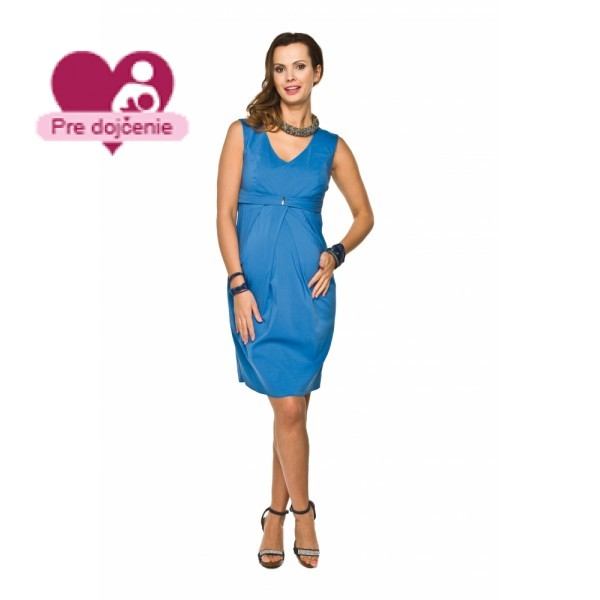 Elegantné púzdrové tehotenské šaty GLORIA Tyrkys