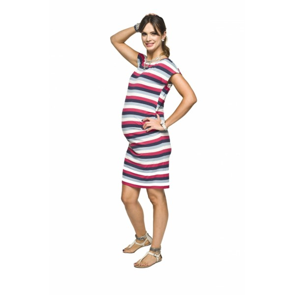 Úzke úpletové tehotenské šaty ZARITA Šedá-ružová
