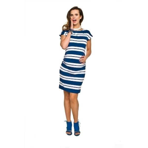 Úzke úpletové tehotenské šaty ZARITA Bielo-modrá