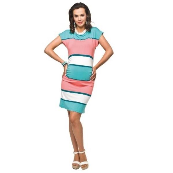 Úzke úpletové tehotenské šaty ZARITA Tyrkys-marhuľa